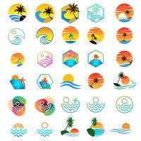 strand solnedgång logotyp design, semester logotyp samling vektor illustration