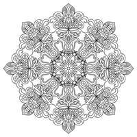 Kontour Mandala för anti-stress färgbok. Dekorativ rund prydnad.