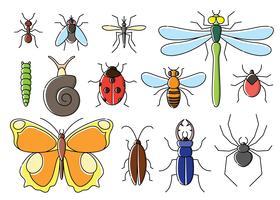 Insekten in flachen Stil gesetzt. Linie Kunstwanzen-Ikonensammlung.