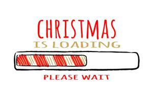Progress bar med inskription - Christmas loading.in sketchy stil på röd bakgrund. Vektorjulillustration för t-shirtdesign, affisch, hälsning eller inbjudningskort.