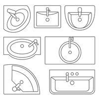 Diskbänken ovanifrån. Vektkonturillustration. Set med olika tvättställstyper.