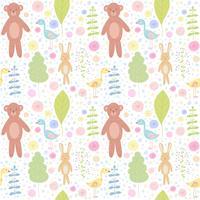 Skogsdjur sömlöst mönster med björn, kanin, fågel och blommor