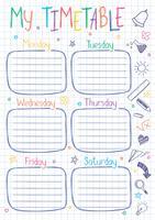 Schulzeitplanschablone auf Kopienbuchblatt mit handgeschriebenem Text. Wöchentlicher Stundenplan im skizzenhaften Stil, dekoriert mit handgezeichneten Schulkritzeln.