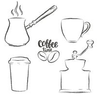 Sats med kaffekopp, kvarn, kruka, papperskaffe rånar grunge konturer. Vintage kaffe objekt samling.