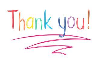 Der bunte handgeschriebene Stift danken Ihnen, in der flüchtigen Art auszudrücken, die auf weißem Hintergrund lokalisiert wird.