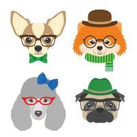 Set av hundporträtt. Chihuahua, pug, pudel, pomeranian glasögon som bär glasögon och tillbehör i platt stil. Vektor illustration av Hipster hundar för kort, t-shirt tryck, plakat, avatarer.