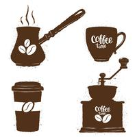 Vintage kaffe objekt set. Silhuetter av kaffekoppar, kvarn, krukor med bönor och bokstäver. Kaffe tid samling.