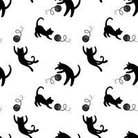 Monokromt sömlöst mönster med att spela katter. Upprepande katter bakgrund