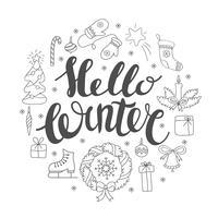 Hej vinterhandlettering med julelement. Vinter säsongskort, hälsning vektor