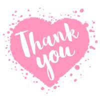 Valentinstagkarte mit Hand gezeichneter Beschriftung - danke - und abstrakter Herzform. Romantische Illustration für Flyer, Plakate, Feiertagseinladungen, Grußkarten, T-Shirt Drucke. vektor