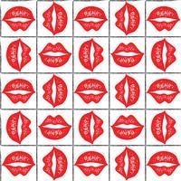 Seamless vektor mönster med röda läppar.