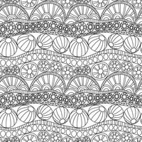 Doodle abstrakt sömlös prydnad. Coloring page doodle ornament. Monokromt sömlöst mönster för färgning. Monokrom textil doodle mönster. Upprepa doodle abstrakt bakgrund.