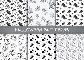 Set av halloween vektormönster. Endless monokrom halloween texturer.