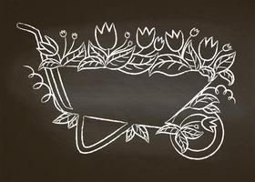 Kreidekontur des Weinlesegartenkarrens mit Blättern und Blumen auf Kreidebrett. Typografie-Gartenarbeitplakat.