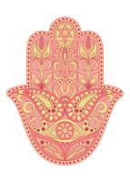 Handgezeichnete Hamsa-Symbol. Hand von Fatima. Ethnisches Amulett, das in indischen, arabischen und jüdischen Kulturen verbreitet ist. Buntes Hamsa Symbol mit östlicher Blumenverzierung.