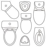 Draufsichtsammlung der Toilettenausrüstung für Innenarchitektur Vektorkonturnillustration. Reihe von verschiedenen Arten von WC-Waschbecken.