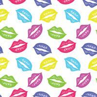 Vektornahtloses Muster mit den bunten Lippen. Wiederholen des skizzierten Lippenhintergrundes für Packpapier, Textildruck, Scrapbooking.