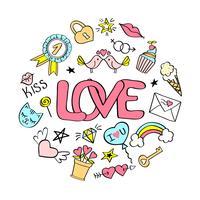 Kärlekbokstäver med flickaktiga klotter för valentines dagkortdesign, flickans t-shirt tryck, affischer. Handritad snygg komisk slogan i tecknad stil.