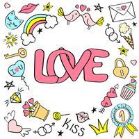 Hälsningskort, affisch med kärleksbokstäver och handgjorda flickaktiga klotter för valentindag eller födelsedag.