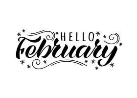Hej februari handritat brevkort med doodle snöflingor. Inspirerande vintercitationstecken. Motivational print för inbjudan eller hälsningskort, broschyrer, affisch, t-shirts, muggar.