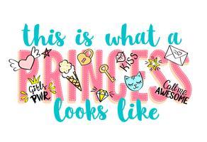 Princess Party bokstäver med flickaktiga klotter och handritade fraser för valentines dagkortdesign, flickans t-shirtutskrift. Handritad Princess Party slogan.