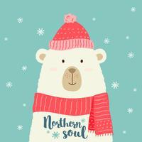 Vector Illustration des netten Karikaturbären in der warmen Mütze und im Schal mit Hand schriftlichen Grußweihnachtsphrasen für Plakate, T-Shirt Drucke, Grußkarten.