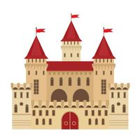 Vektor illustration av ett slott i platt stil. Medeltida sten fästning. Abstrakt