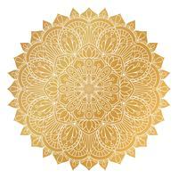 Vektor gyllene Mandala prydnad. Vintage dekorativa element. Orientaliskt runda mönster. Islam, arabiska, indiska, turkiska, pakistan, kinesiska, osmanska motiv. Handdragen blommig bakgrund.