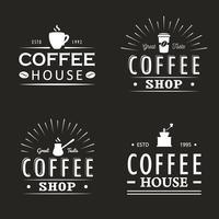 Sats med vintage kaffe logotyp mallar, märken och designelement. Logotyper samling för kafé, café, restaurang. Vektor illustration. Hipster och retro stil.