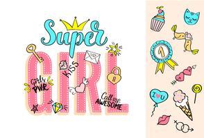Supermädchenbeschriftung mit girly Gekritzeln und Hand gezeichneten Phrasen für Valentinstagkartendesign, der T-Shirt Druck des Mädchens. Hand gezeichneter fantastischer komischer Feminismusslogan in der Karikaturart.
