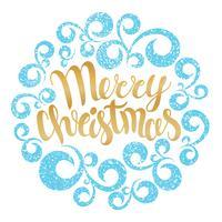 Frohe Weihnachten Grußkarte. Vektor-illustration Beschriftung der frohen Weihnachten in der runden Kurvenverzierung. Handgezeichnete Inschrift, kalligraphische Gestaltung.