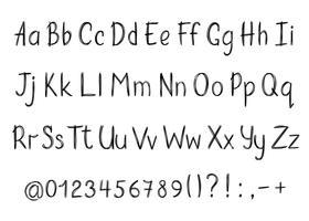 Alfabet i sketchy stil. Vektor handskriven penna bokstäver, siffror och skiljetecken. Bläckpenna handskrift typsnitt.
