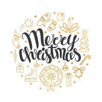 Vektorweihnachtskarte mit Weihnachtselementen. Perfektes Design für Poster, Flyer, Banner, Karten. Weihnachtsentwurf. Handgeschriebene moderne Pinselschrift. Hand gezeichnete Gekritzelgestaltungselemente.