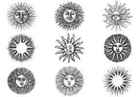 Handdragen gammal Sun Vector Pack II