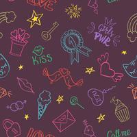 Nahtloses Muster mit Hand gezeichneten girly Gekritzeln. Wiederholen des Hintergrundes mit kindischen Skizzengestaltungselementen für Gewebe, Tapete, Scrapbooking. vektor