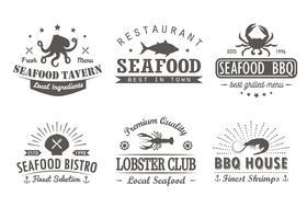 Sats med vintage skaldjur, grill, grill logotyp mallar, märken och designelement. Logotyper samling för skaldjur butik, café, restaurang. Vektor illustration. Hipster och retro stil.