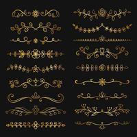 Sammlung goldene Hand gezeichnete Flourishtextteiler. Kritzeln Sie Goldbotanische Grenzen für Typografieentwurf, Einladungen, Grußkarten. Kalligraphische und Blumenmusterelemente. vektor