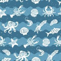 Vektorupprepande mönster med skaldjursprodukter. Skaldjur sömlösa backgruond med undervattensdjur. Tegeldesign för restaurang, fiskmatindustri eller marknadsaffär, textiltryck