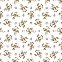 Vector nahtloses Muster mit handrawn Beschriftung Kaffee und Kaffeebohnen. Wiederholen des Hintergrundes für Packpapier, Scrapbooking, Textildesign.