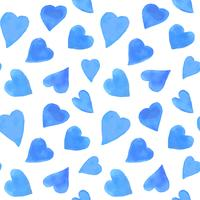 Akvarell hjärtan sömlös mönster. Upprepa Valentinsdagens bakgrund