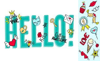 Hej bokstäver med flickaktiga klotter och handgjorda fraser för valentines dagkortdesign, flickans t-shirtutskrift. Handritad hej slogan
