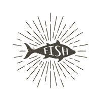 Monokrom handritad vintage etikett, retro emblem med texturerad silhuett av fisk. vektor
