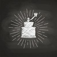 Kreide maserte Kaffeemühlschattenbild mit Weinlesesonnenstrahlen auf schwarzem Brett. Vector Kaffeemühleillustration für Getränk und Getränkekarte oder Caféthema, Plakat, T-Shirt Druck, Logo.