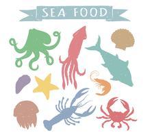Seafood handritade färgglada vektor illustrationer isolerad på vit bakgrund, element för restaurang meny design, inredning, etikett. Vintage silhuetter av havsdjur.