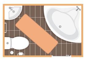 Badrum inredning topp utsikt vektor illustration. Planlösning av toalettrum. Platt design.
