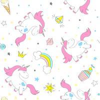 Seamless vektor enhörningsmönster för barn textilier, utskrifter, wallpapir, sccrapbooking. Doodle gullig unicorn med klotterelement som upprepar bakgrund.