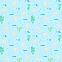Undervattens sömlösa mönster. Seamless mönster med undervattenselement. Sammansättning