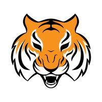 Tiger-Symbol. Vektorillustration für Logodesign, T-Shirt Druck. Tiger Maskottchen. vektor