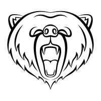 Brüllende Bärensymbol isoliert auf weißem Hintergrund. Bär Logo Vorlage, Tattoo-Design, T-Shirt drucken. Kontur-Logo für wilde Tiere.