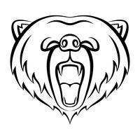 Brummande björnikon isolerad på en vit bakgrund. Bear logotyp mall, tatuering design, t-shirt tryck. Wild Animal Contour logo. vektor